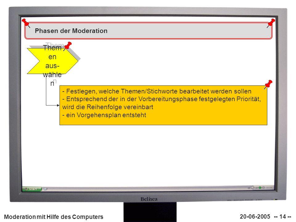 Moderation mit Hilfe des Computers 20-06-2005 -- 14 -- Phasen der Moderation Them en aus- wähle n - Festlegen, welche Themen/Stichworte bearbeitet wer