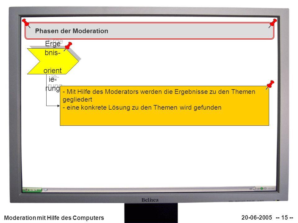 Moderation mit Hilfe des Computers 20-06-2005 -- 15 -- Phasen der Moderation Erge bnis- orient ie- rung - Mit Hilfe des Moderators werden die Ergebnis