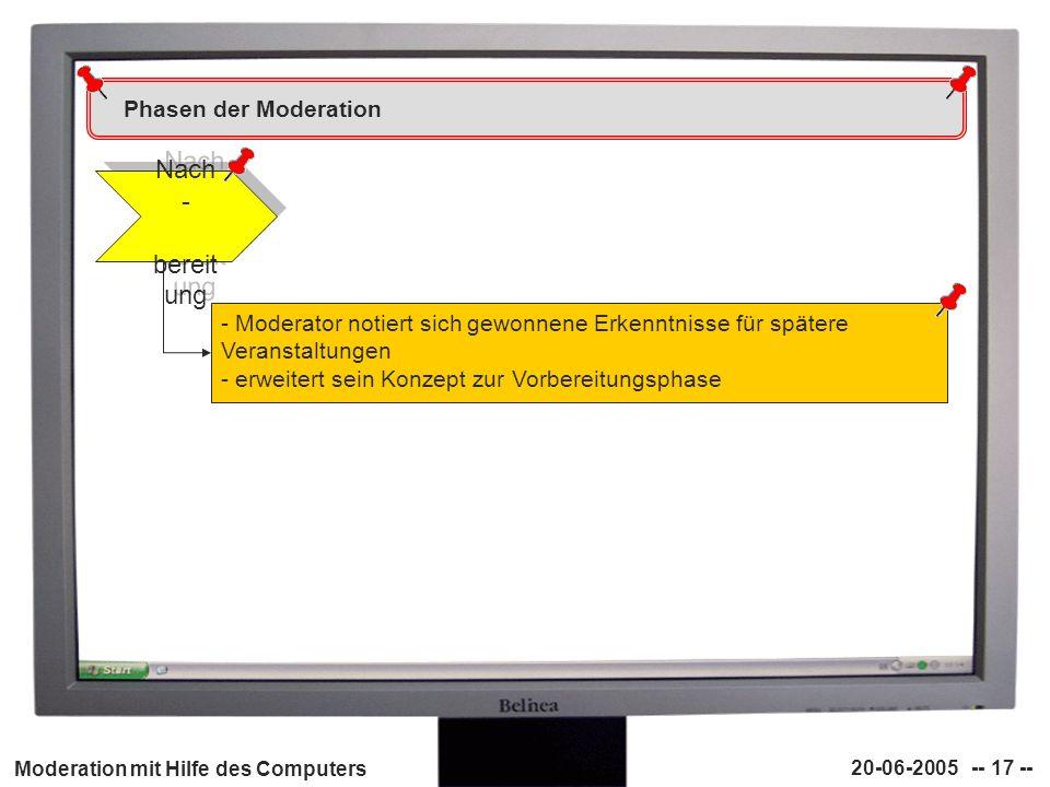 Moderation mit Hilfe des Computers 20-06-2005 -- 17 -- Phasen der Moderation Nach - bereit ung - Moderator notiert sich gewonnene Erkenntnisse für spä