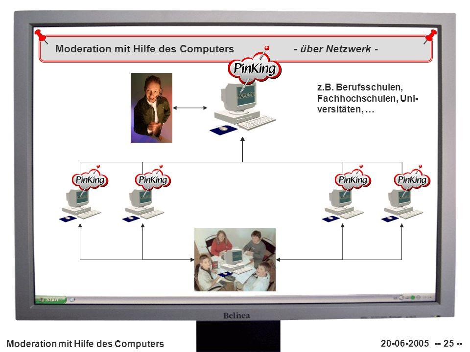 Moderation mit Hilfe des Computers 20-06-2005 -- 25 -- Moderation mit Hilfe des Computers - über Netzwerk - z.B. Berufsschulen, Fachhochschulen, Uni-