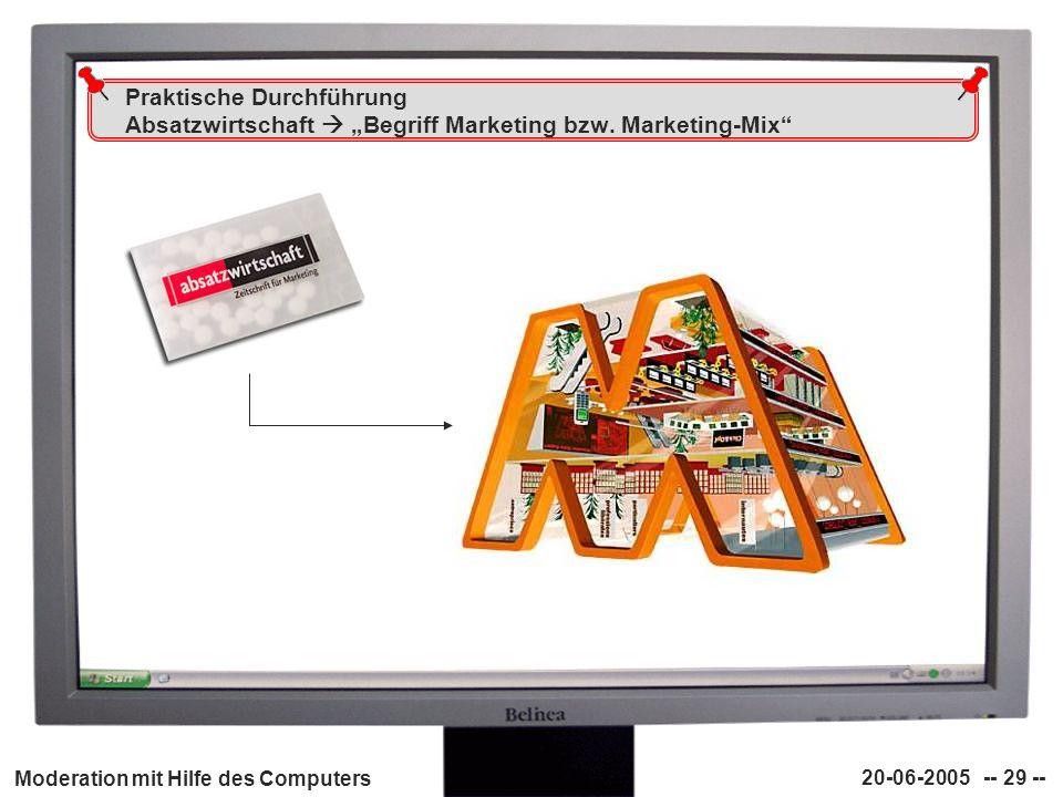 Moderation mit Hilfe des Computers 20-06-2005 -- 29 -- Praktische Durchführung Absatzwirtschaft Begriff Marketing bzw. Marketing-Mix