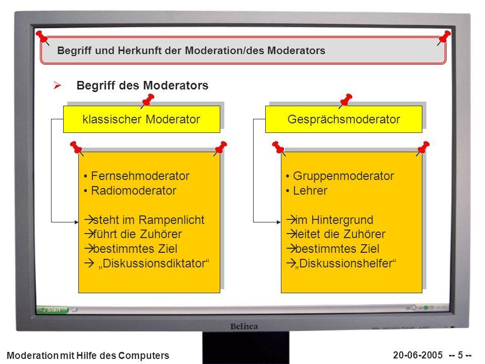 Moderation mit Hilfe des Computers 20-06-2005 -- 26 -- Vor- und Nachteile der (Computer-)Moderation Vorteile der (Computer-)Moderation Chancen der (Computer-)Moderation - fördert Kreativität - Schüler übernehmen Verantwortung - führt zu mehr Problemlösungsfähigkeit - verlässt eingefahrene Wege - es wird effektiver gearbeitet - Offenheit und Toleranz wird gefördert - Leistungsbereitschaft steigt - Sensibilisierung für eigene Denkprozesse - Moderator kann die Kreativität nur fördern, nie erzwingen - erste Idee nicht immer die Beste - auch für einen guten Vorschlag gibt es eine Steigerung wenn die Schüler selbstständig Themengebiete nennen, an denen sie arbeiten möchten, sind sie im weiteren Verlauf engagierter