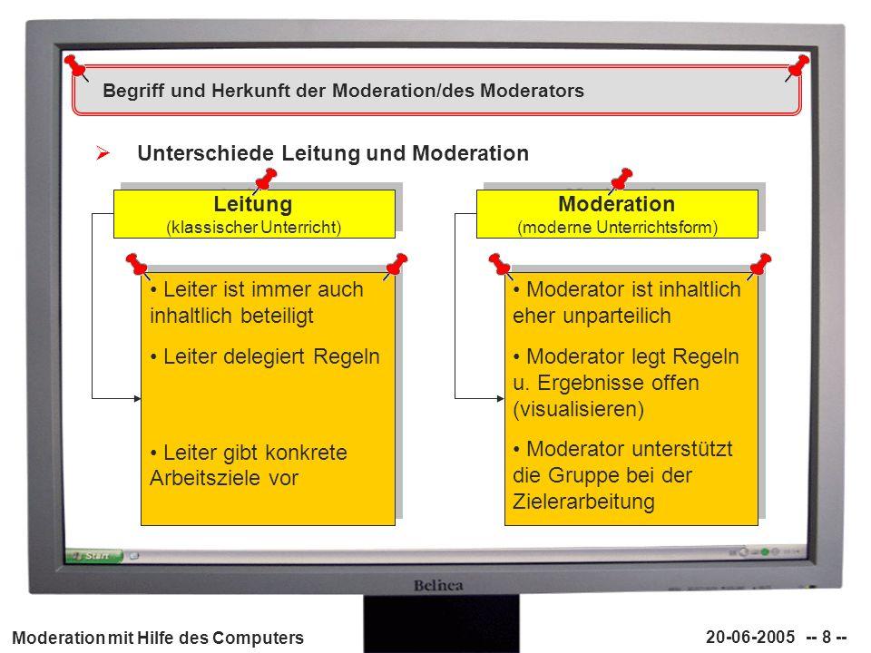 Moderation mit Hilfe des Computers 20-06-2005 -- 8 -- Begriff und Herkunft der Moderation/des Moderators Unterschiede Leitung und Moderation Leitung (
