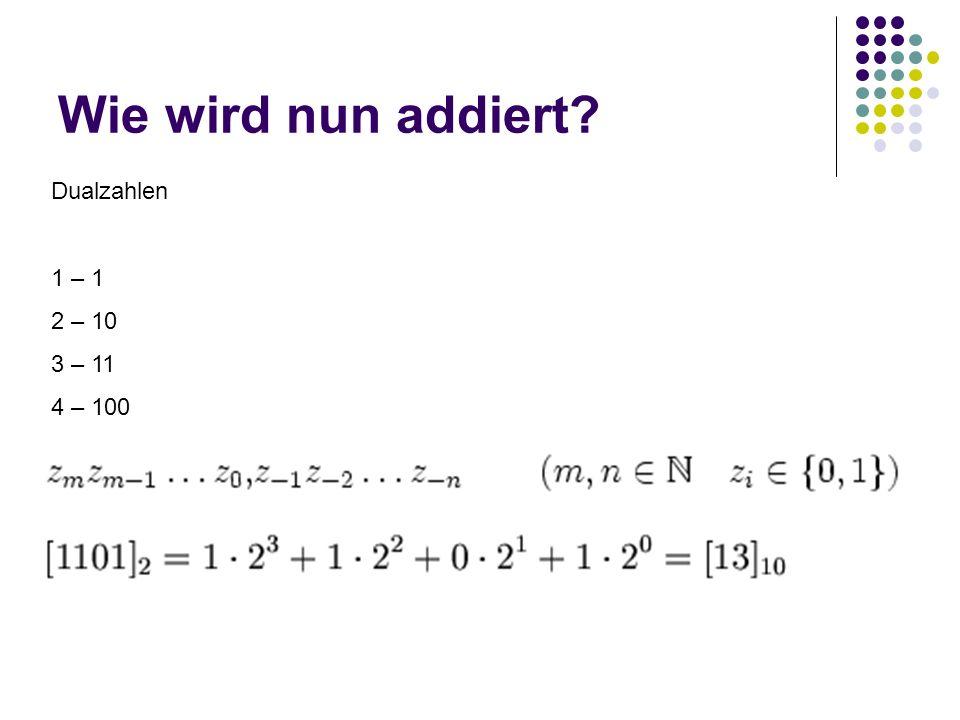 Wie wird nun addiert? Dualzahlen 1 – 1 2 – 10 3 – 11 4 – 100