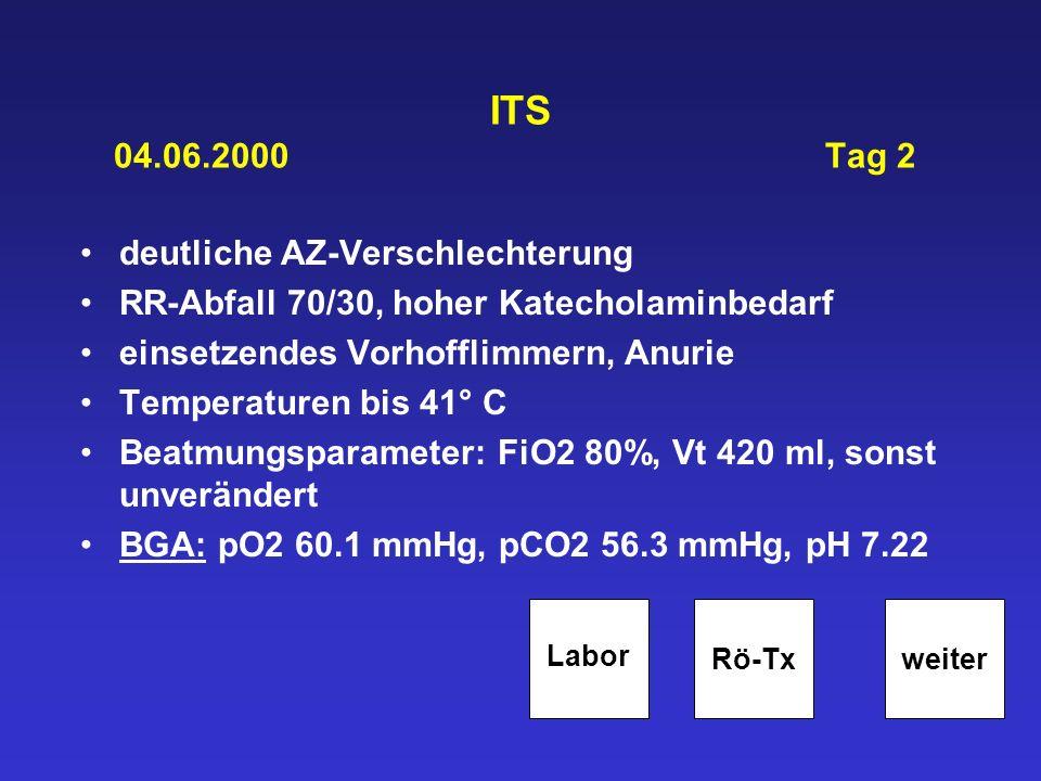 ITS 04.06.2000 Tag 2 deutliche AZ-Verschlechterung RR-Abfall 70/30, hoher Katecholaminbedarf einsetzendes Vorhofflimmern, Anurie Temperaturen bis 41°