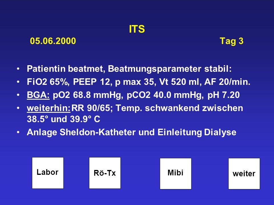 ITS 05.06.2000 Tag 3 Patientin beatmet, Beatmungsparameter stabil: FiO2 65%, PEEP 12, p max 35, Vt 520 ml, AF 20/min. BGA: pO2 68.8 mmHg, pCO2 40.0 mm