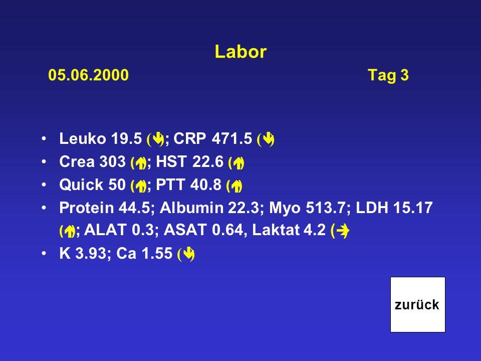 Labor 05.06.2000 Tag 3 Leuko 19.5 ( ) ; CRP 471.5 ( ) Crea 303 ( ) ; HST 22.6 ( ) Quick 50 ( ) ; PTT 40.8 ( ) Protein 44.5; Albumin 22.3; Myo 513.7; L