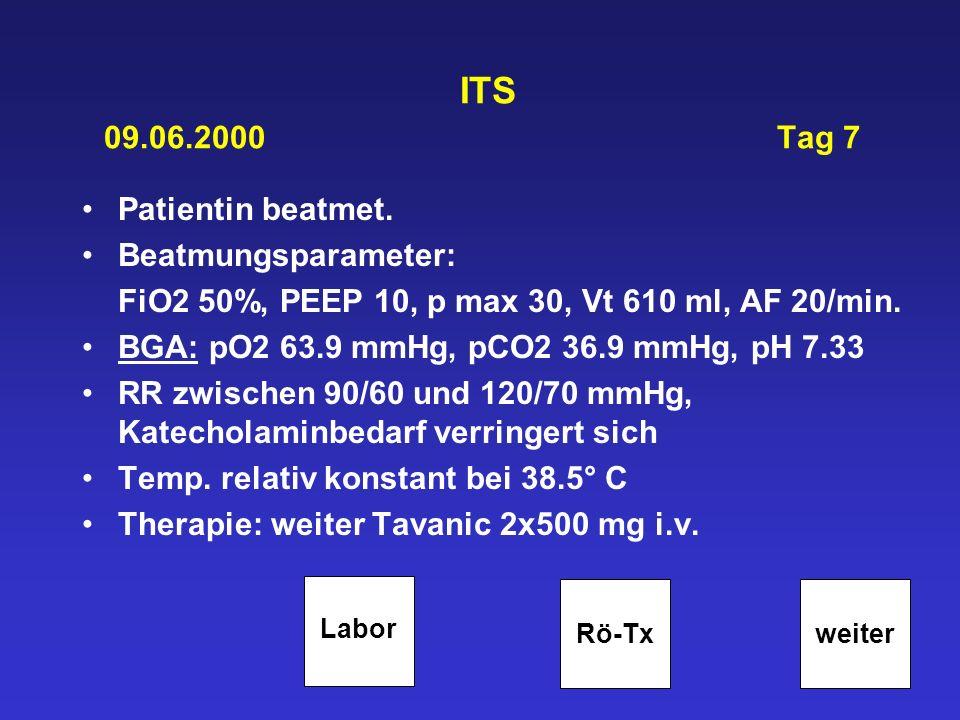 ITS 09.06.2000 Tag 7 Patientin beatmet. Beatmungsparameter: FiO2 50%, PEEP 10, p max 30, Vt 610 ml, AF 20/min. BGA: pO2 63.9 mmHg, pCO2 36.9 mmHg, pH
