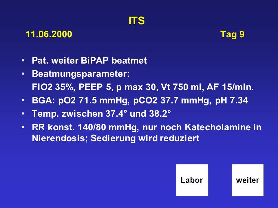 ITS 11.06.2000 Tag 9 Pat. weiter BiPAP beatmet Beatmungsparameter: FiO2 35%, PEEP 5, p max 30, Vt 750 ml, AF 15/min. BGA: pO2 71.5 mmHg, pCO2 37.7 mmH