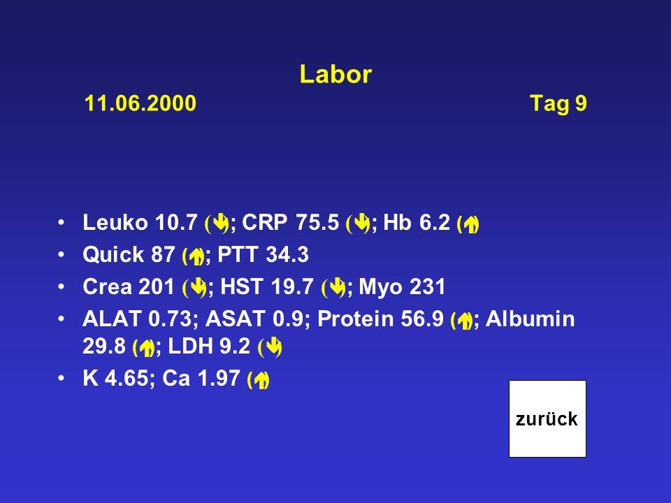 Labor 11.06.2000 Tag 9 Leuko 10.7 ( ) ; CRP 75.5 ( ) ; Hb 6.2 ( ) Quick 87 ( ) ; PTT 34.3 Crea 201 ( ) ; HST 19.7 ( ) ; Myo 231 ALAT 0.73; ASAT 0.9; P