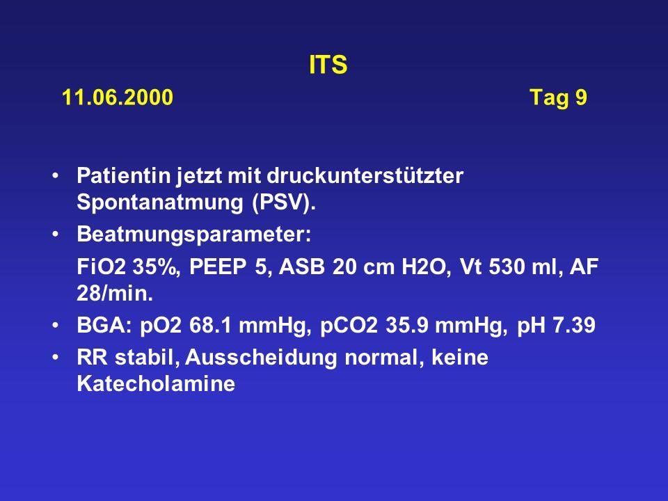 ITS 11.06.2000 Tag 9 Patientin jetzt mit druckunterstützter Spontanatmung (PSV). Beatmungsparameter: FiO2 35%, PEEP 5, ASB 20 cm H2O, Vt 530 ml, AF 28