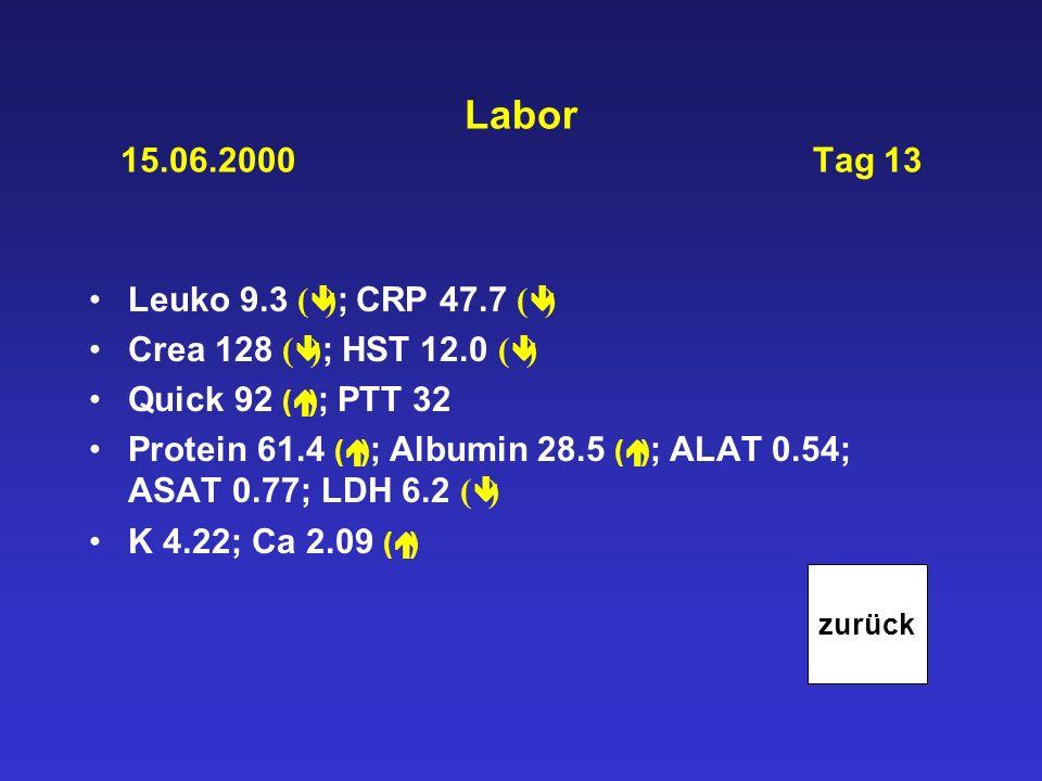 Labor 15.06.2000 Tag 13 Leuko 9.3 ( ) ; CRP 47.7 ( ) Crea 128 ( ) ; HST 12.0 ( ) Quick 92 ( ) ; PTT 32 Protein 61.4 ( ) ; Albumin 28.5 ( ) ; ALAT 0.54