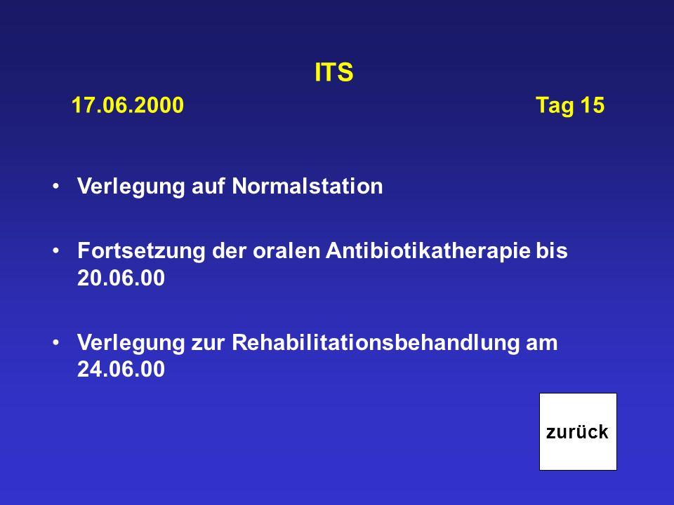 ITS 17.06.2000Tag 15 Verlegung auf Normalstation Fortsetzung der oralen Antibiotikatherapie bis 20.06.00 Verlegung zur Rehabilitationsbehandlung am 24