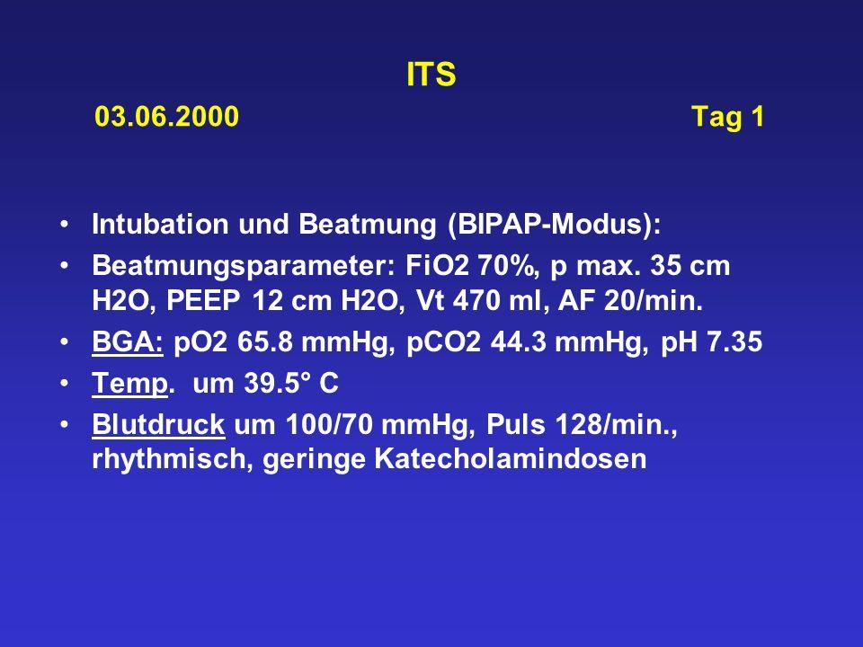 ITS 03.06.2000 Tag 1 Intubation und Beatmung (BIPAP-Modus): Beatmungsparameter: FiO2 70%, p max. 35 cm H2O, PEEP 12 cm H2O, Vt 470 ml, AF 20/min. BGA: