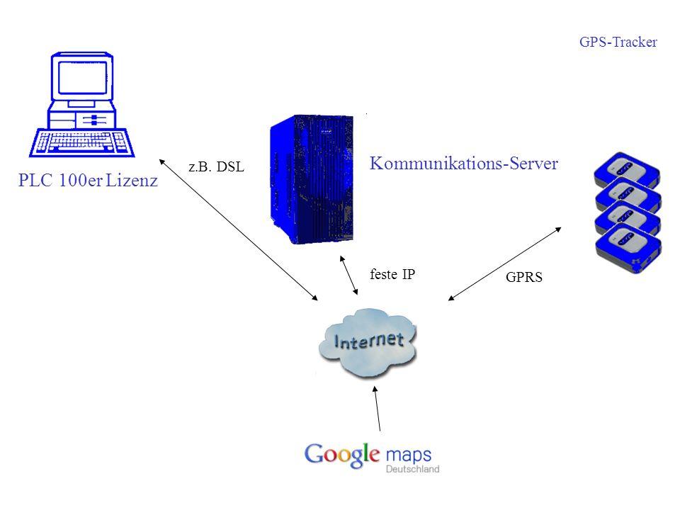 GPS-Tracker PLC 100er Lizenz z.B. DSL feste IP Kommunikations-Server GPRS
