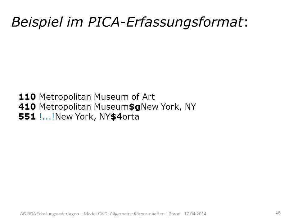 AG RDA Schulungsunterlagen – Modul GND: Allgemeine Körperschaften | Stand: 17.04.2014 Beispiel im PICA-Erfassungsformat: 110 Metropolitan Museum of Art 410 Metropolitan Museum$gNew York, NY 551 !...!New York, NY$4orta 46