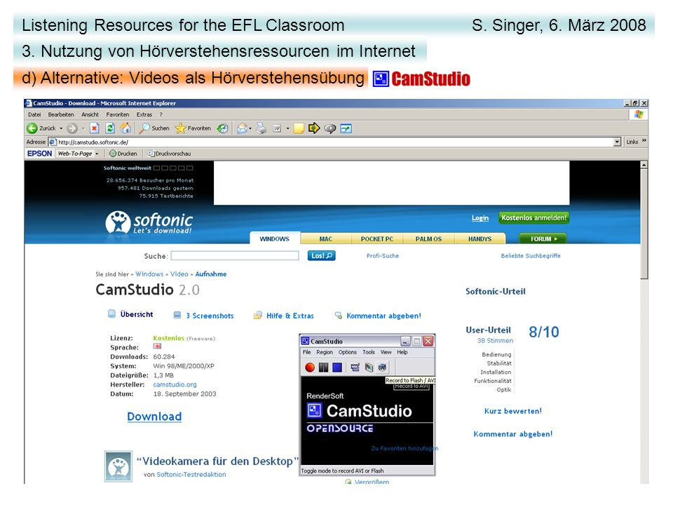 Listening Resources for the EFL Classroom S. Singer, 6.