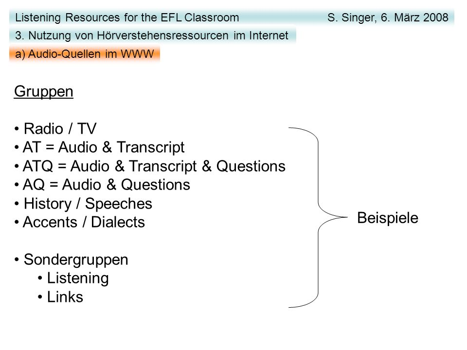 Listening Resources for the EFL Classroom S.Singer, 6.