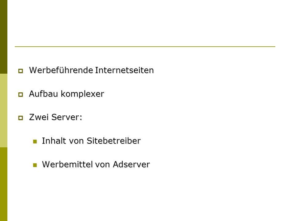 Werbeführende Internetseiten Werbeführende Internetseiten Aufbau komplexer Aufbau komplexer Zwei Server: Zwei Server: Inhalt von Sitebetreiber Inhalt von Sitebetreiber Werbemittel von Adserver Werbemittel von Adserver