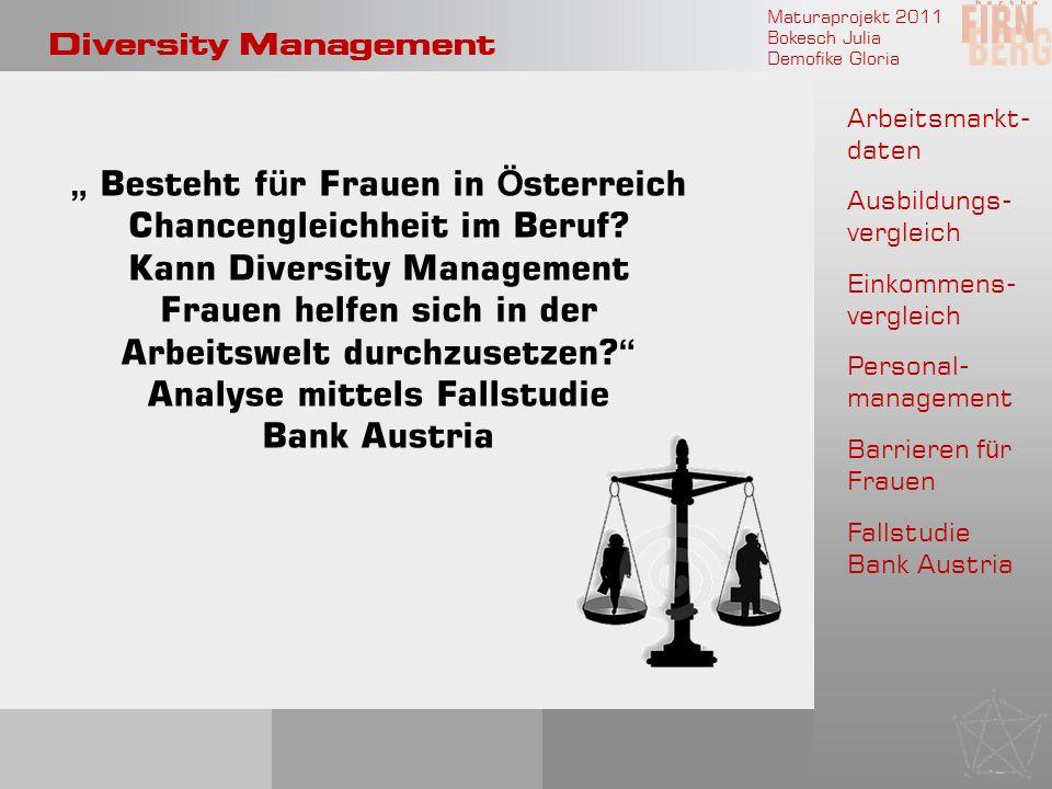 Maturaprojekt 2011 Bokesch Julia Demofike Gloria Diversity Management Arbeitsmarkt- daten Ausbildungs- vergleich Einkommens- vergleich Personal- manag