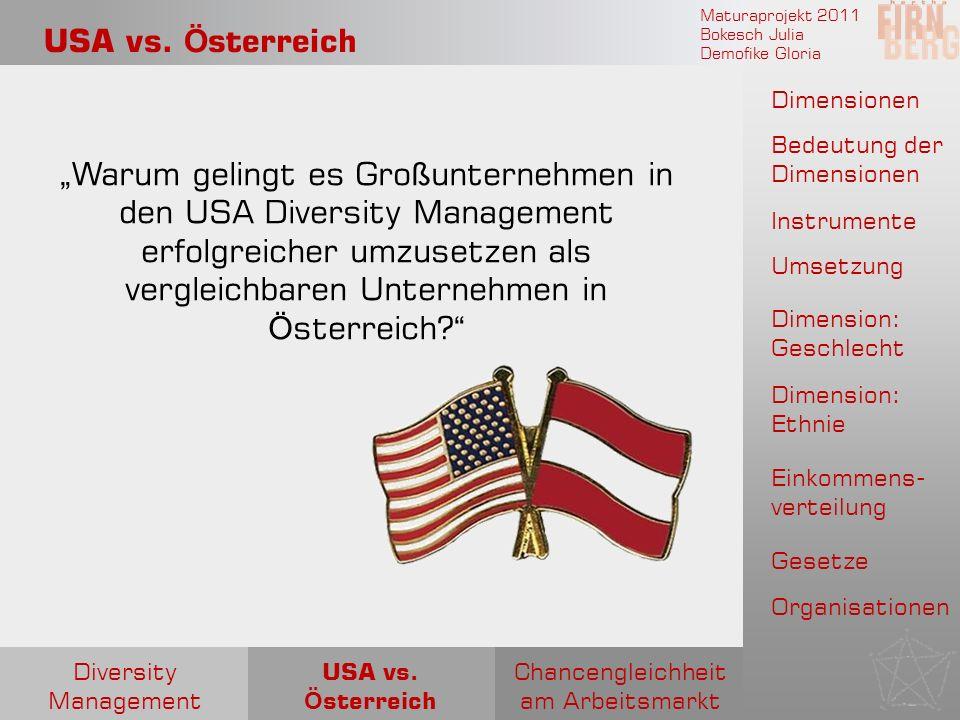 Maturaprojekt 2011 Bokesch Julia Demofike Gloria USA vs. Ö sterreich Warum gelingt es Gro ß unternehmen in den USA Diversity Management erfolgreicher