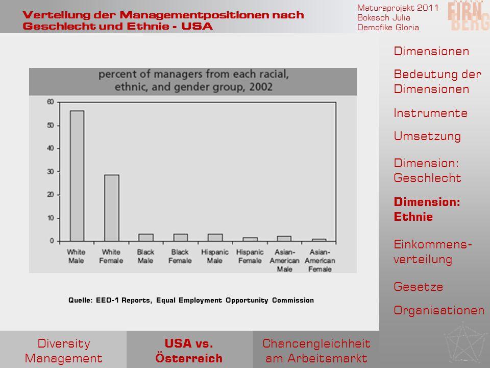 Maturaprojekt 2011 Bokesch Julia Demofike Gloria Verteilung der Managementpositionen nach Geschlecht und Ethnie - USA Quelle: EEO-1 Reports, Equal Emp