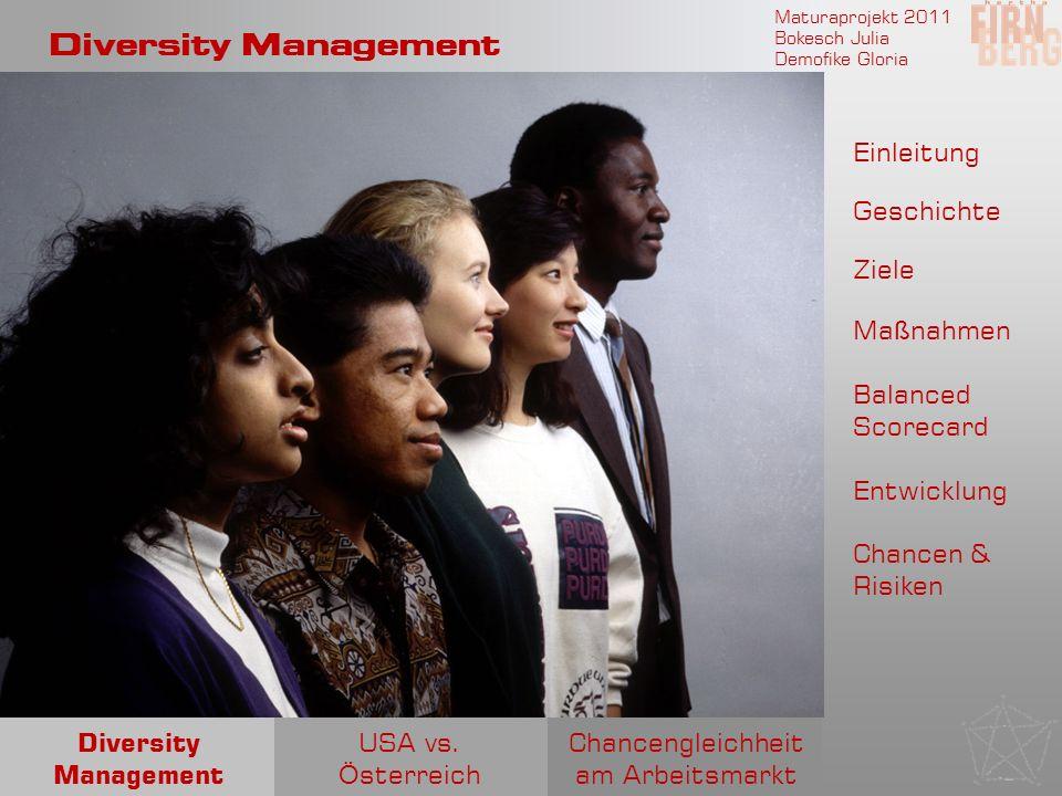 Maturaprojekt 2011 Bokesch Julia Demofike Gloria Diversity Management Einleitung Geschichte Ziele Entwicklung Ma ß nahmen Chancengleichheit am Arbeits