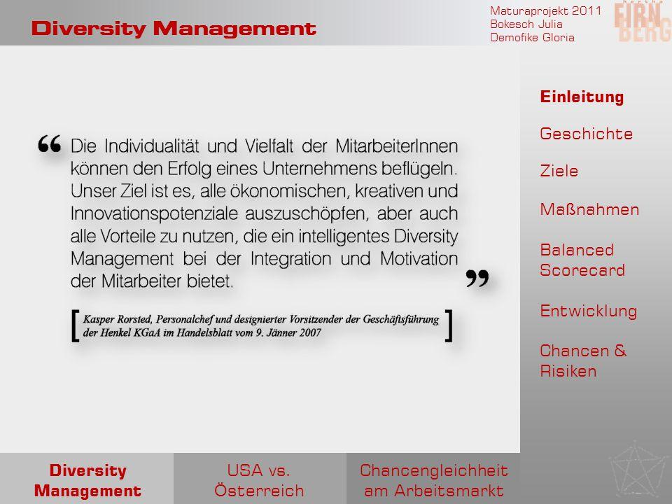 Maturaprojekt 2011 Bokesch Julia Demofike Gloria Diversity Management Chancengleichheit am Arbeitsmarkt USA vs. Ö sterreich Diversity Management Einle