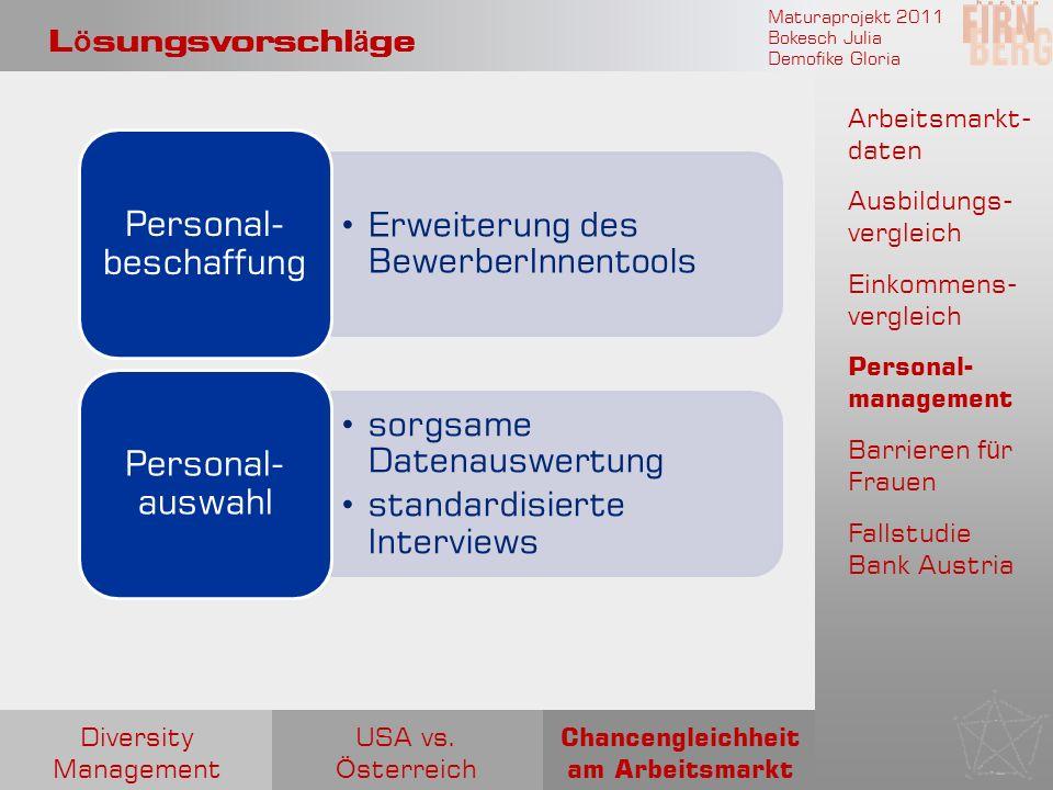 Maturaprojekt 2011 Bokesch Julia Demofike Gloria L ö sungsvorschl ä ge Arbeitsmarkt- daten Ausbildungs- vergleich Einkommens- vergleich Personal- mana