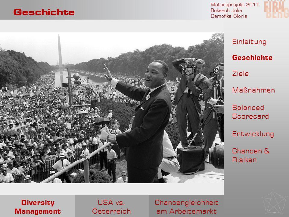 Maturaprojekt 2011 Bokesch Julia Demofike Gloria Geschichte Chancengleichheit am Arbeitsmarkt USA vs. Ö sterreich Diversity Management Einleitung Gesc