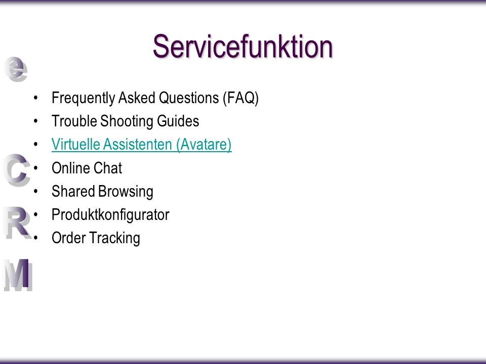 Servicefunktion Frequently Asked Questions (FAQ) Trouble Shooting Guides Virtuelle Assistenten (Avatare) Online Chat Shared Browsing Produktkonfigurat