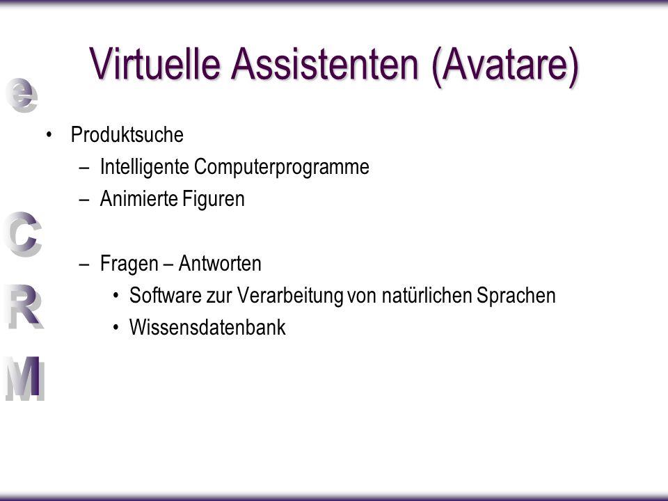 Virtuelle Assistenten (Avatare) Produktsuche –Intelligente Computerprogramme –Animierte Figuren –Fragen – Antworten Software zur Verarbeitung von natürlichen Sprachen Wissensdatenbank