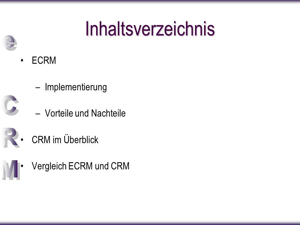 Inhaltsverzeichnis ECRM –Implementierung –Vorteile und Nachteile CRM im Überblick Vergleich ECRM und CRM