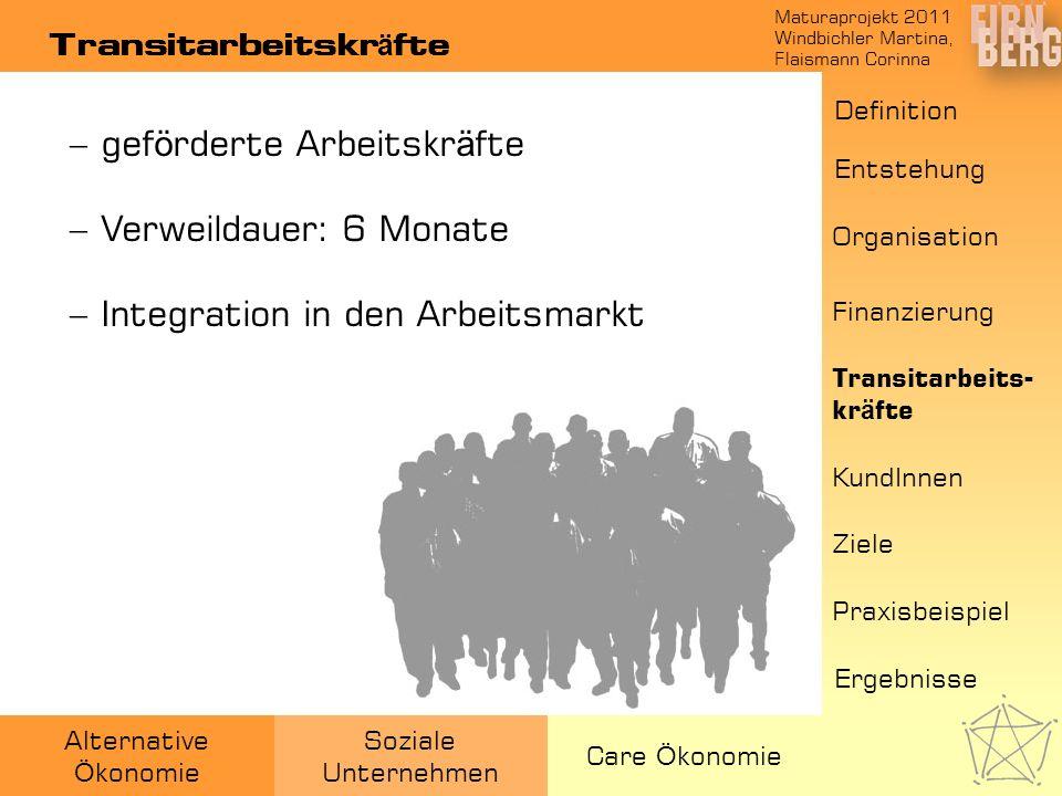 Maturaprojekt 2011 Windbichler Martina, Flaismann Corinna Alternative Ö konomie Soziale Unternehmen Care Ö konomie Transitarbeitskr ä fte gef ö rderte
