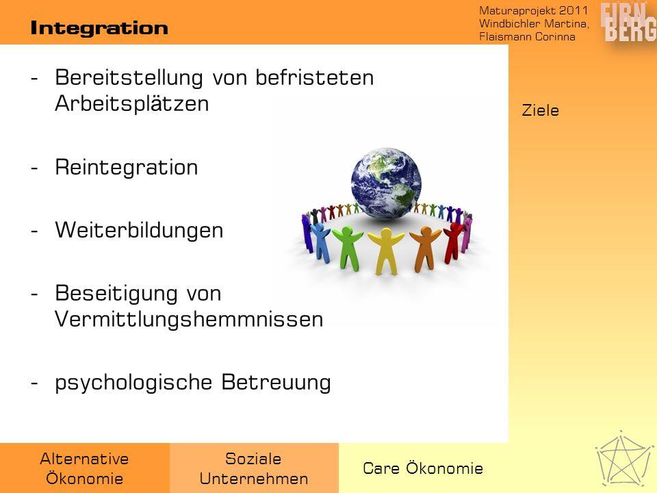 Maturaprojekt 2011 Windbichler Martina, Flaismann Corinna Alternative Ö konomie Soziale Unternehmen Care Ö konomie Integration -Bereitstellung von bef