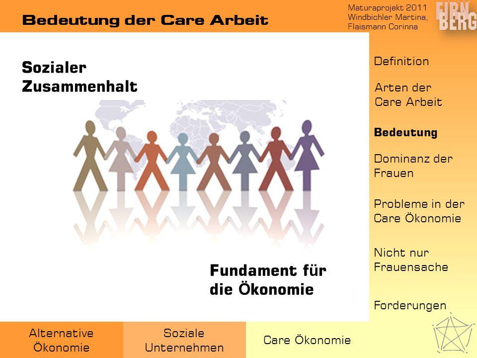 Maturaprojekt 2011 Windbichler Martina, Flaismann Corinna Alternative Ö konomie Soziale Unternehmen Care Ö konomie Bedeutung der Care Arbeit Sozialer