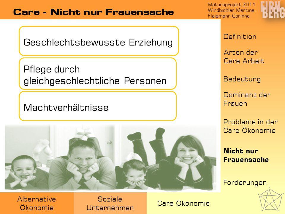 Maturaprojekt 2011 Windbichler Martina, Flaismann Corinna Alternative Ö konomie Soziale Unternehmen Care Ö konomie Care - Nicht nur Frauensache Geschl