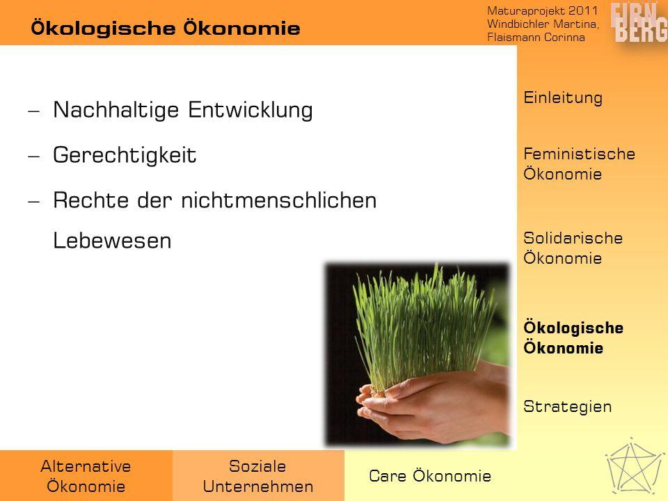 Maturaprojekt 2011 Windbichler Martina, Flaismann Corinna Alternative Ö konomie Soziale Unternehmen Care Ö konomie Ö kologische Ö konomie Einleitung F