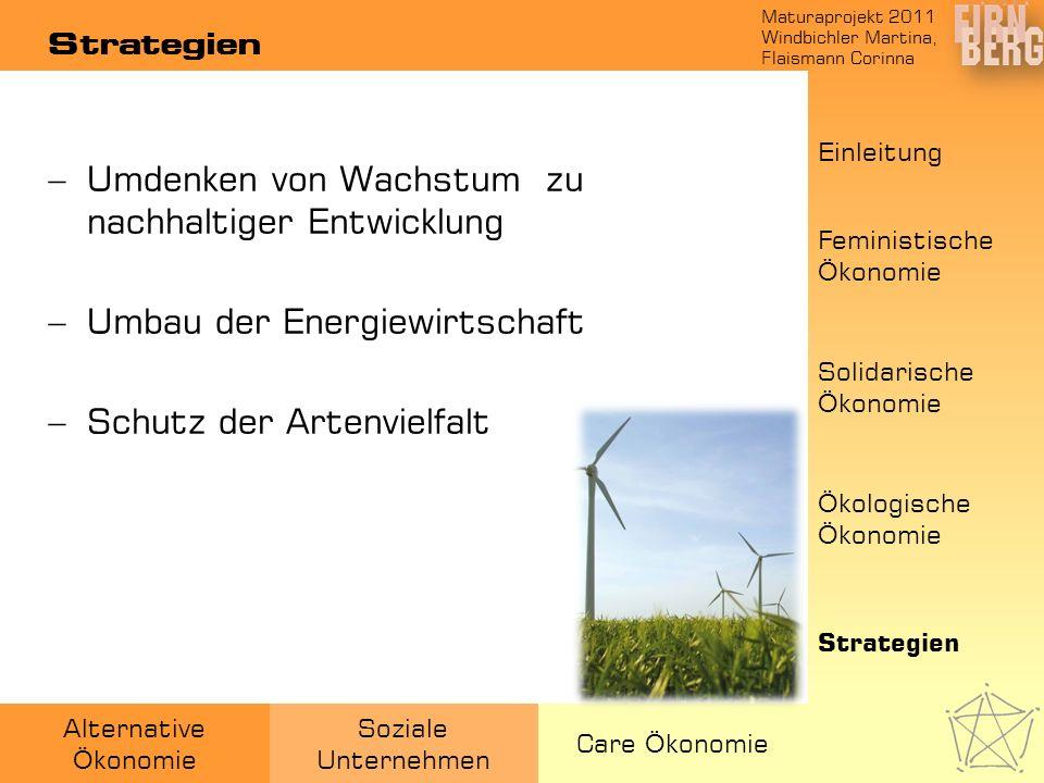Maturaprojekt 2011 Windbichler Martina, Flaismann Corinna Alternative Ö konomie Soziale Unternehmen Care Ö konomie Strategien Umdenken von Wachstum zu