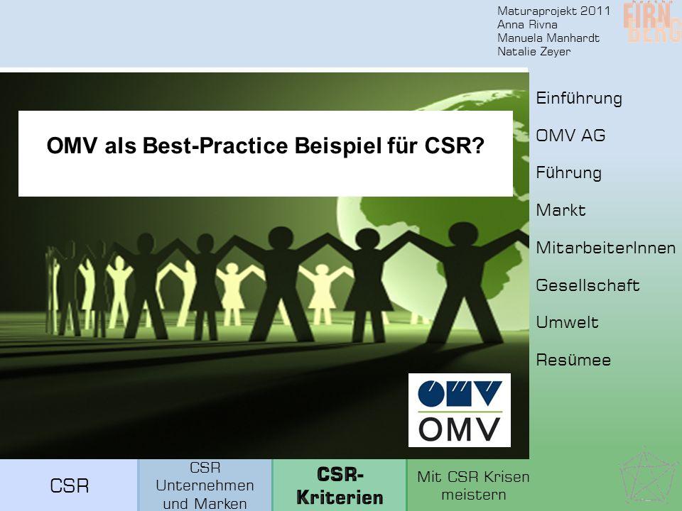 Maturaprojekt 2011 Anna Rivna Manuela Manhardt Natalie Zeyer OMV als Best-Practice Beispiel für CSR.