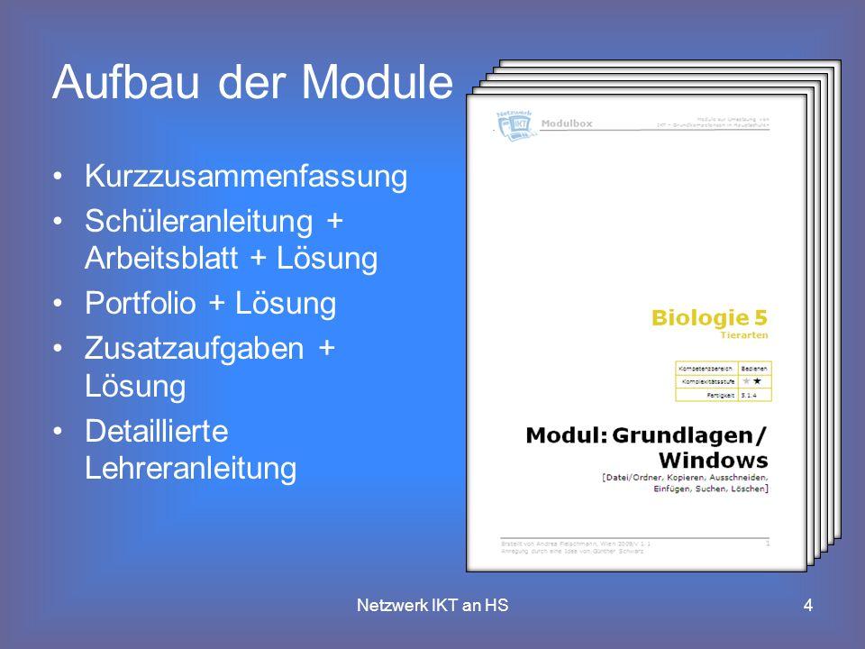 4 Aufbau der Module Kurzzusammenfassung Schüleranleitung + Arbeitsblatt + Lösung Portfolio + Lösung Zusatzaufgaben + Lösung Detaillierte Lehreranleitung Netzwerk IKT an HS