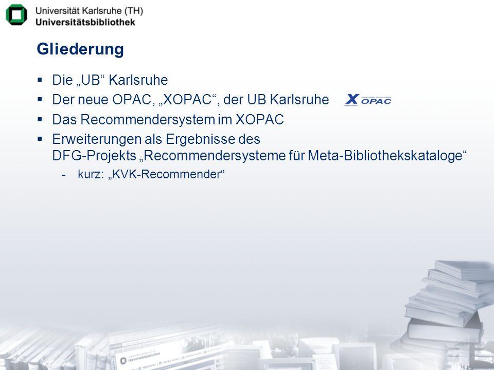 Umsetzung im XOPAC Titelbezogene Weiterführung im Uni-Katalog bereits vorhanden -weitere Literatur des Autors zum Fachgebiet Konzept der Zusatzdaten -Anreicherung der vom Verbund gelieferten Daten -Übernahme von Daten aus dem Ausleihsystem vermeidet redundante Datenerfassung (Lokalsystem + Verbund) Fachgruppen Standorte Handapparate Semesterapparate -Übernahme von Daten vom Recommendersystem automatisch erzeugte Schlagworte