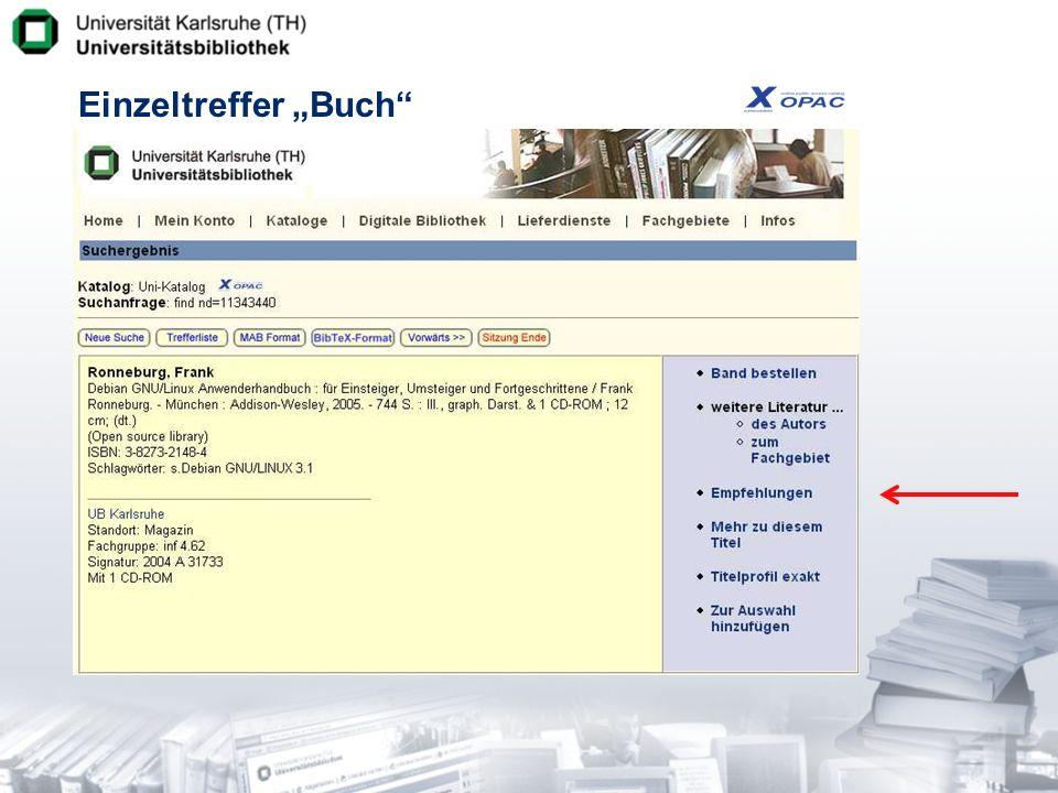 Integration in Benachrichtigungsdienst Idee -Versand einer Mail-Benachrichtigung, falls es neue Empfehlungen zu einem interessanten Titel gibt Praxis -Alert me-Funktion auf den Empfehlungsseiten.