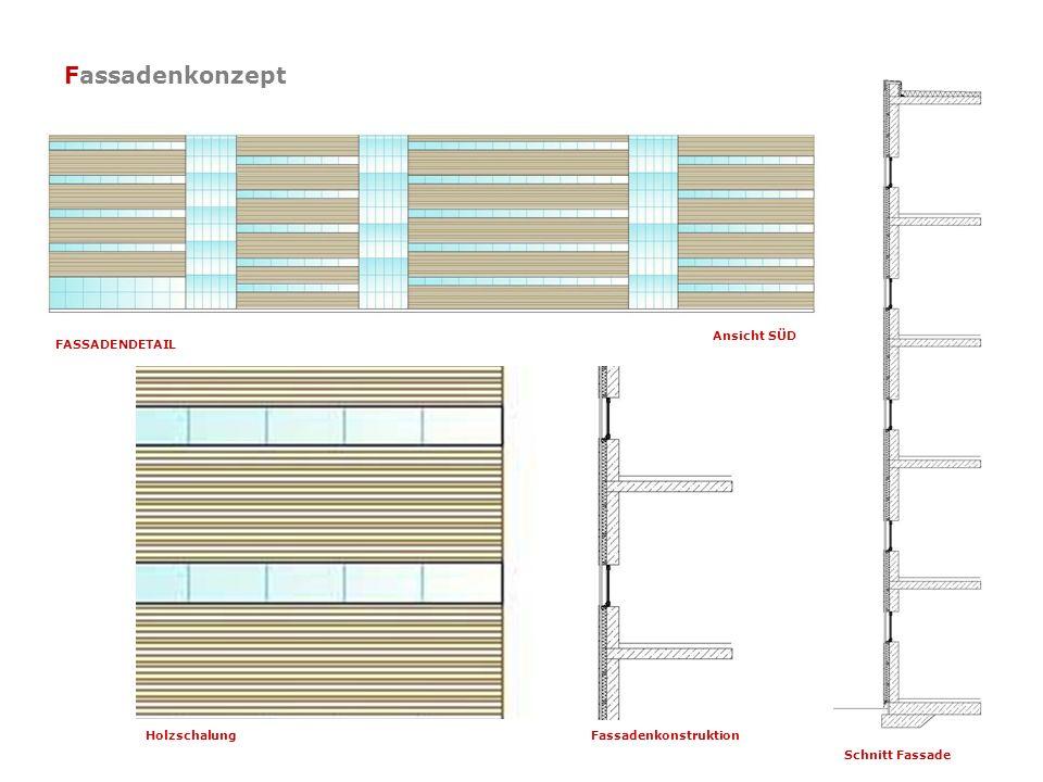 Fassadenkonzept Ansicht SÜD Schnitt Fassade FASSADENDETAIL HolzschalungFassadenkonstruktion