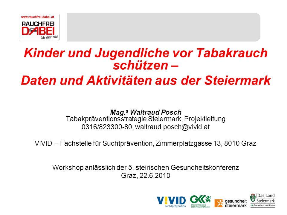 Kinder und Jugendliche vor Tabakrauch schützen – Daten und Aktivitäten aus der Steiermark Mag. a Waltraud Posch Tabakpräventionsstrategie Steiermark,