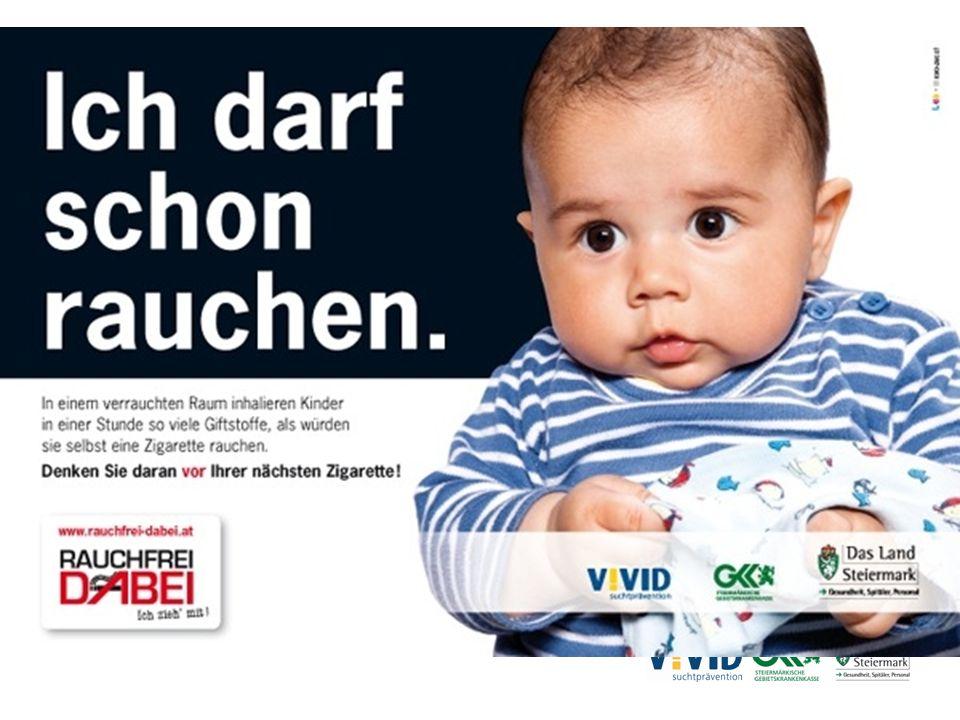 Ergebnisse der Bewusstseinsbildung Kinder vor Passivrauch schützen Ungestützter Recall: 56,5% konnten den Slogan wiedergeben, bzw.