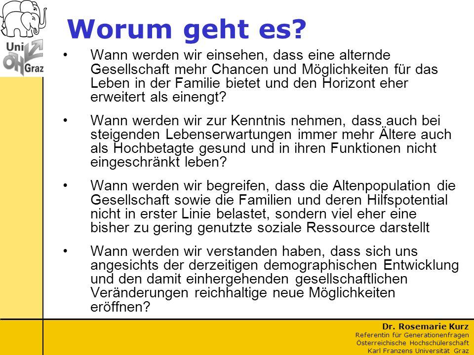 Dr. Rosemarie Kurz Referentin für Generationenfragen Österreichische Hochschülerschaft Karl Franzens Universität Graz Worum geht es? Wann werden wir e