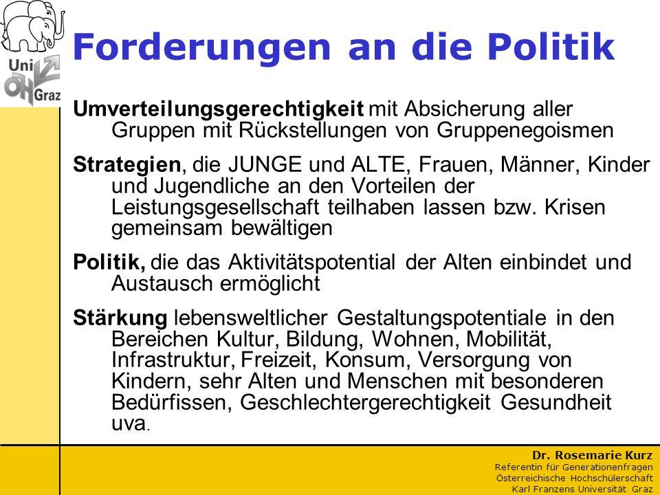 Dr. Rosemarie Kurz Referentin für Generationenfragen Österreichische Hochschülerschaft Karl Franzens Universität Graz Forderungen an die Politik Umver