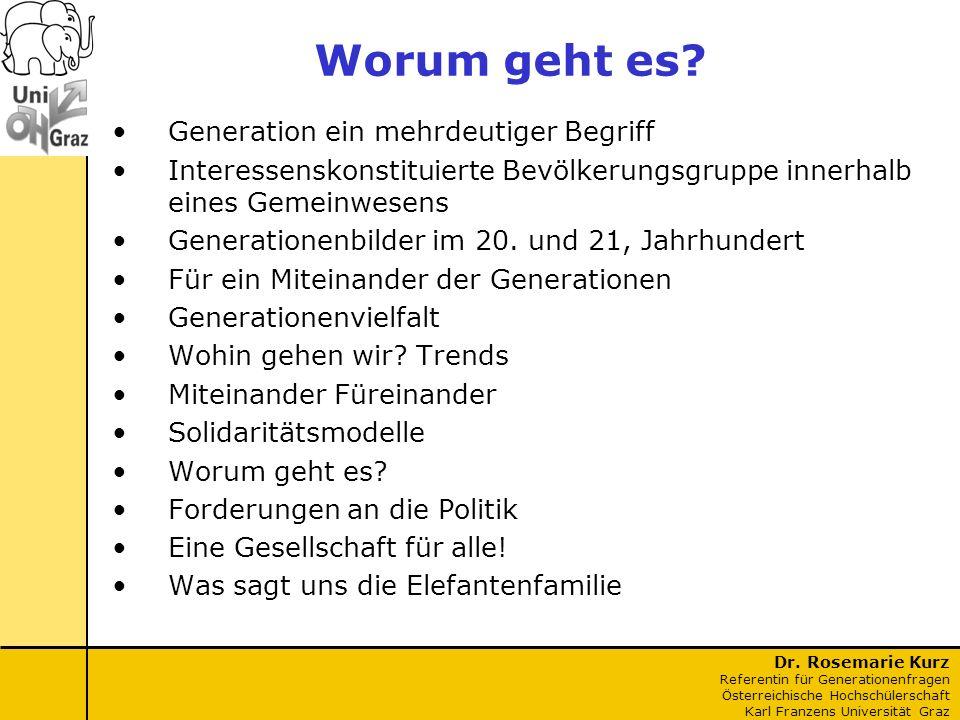 Dr. Rosemarie Kurz Referentin für Generationenfragen Österreichische Hochschülerschaft Karl Franzens Universität Graz Worum geht es? Generation ein me