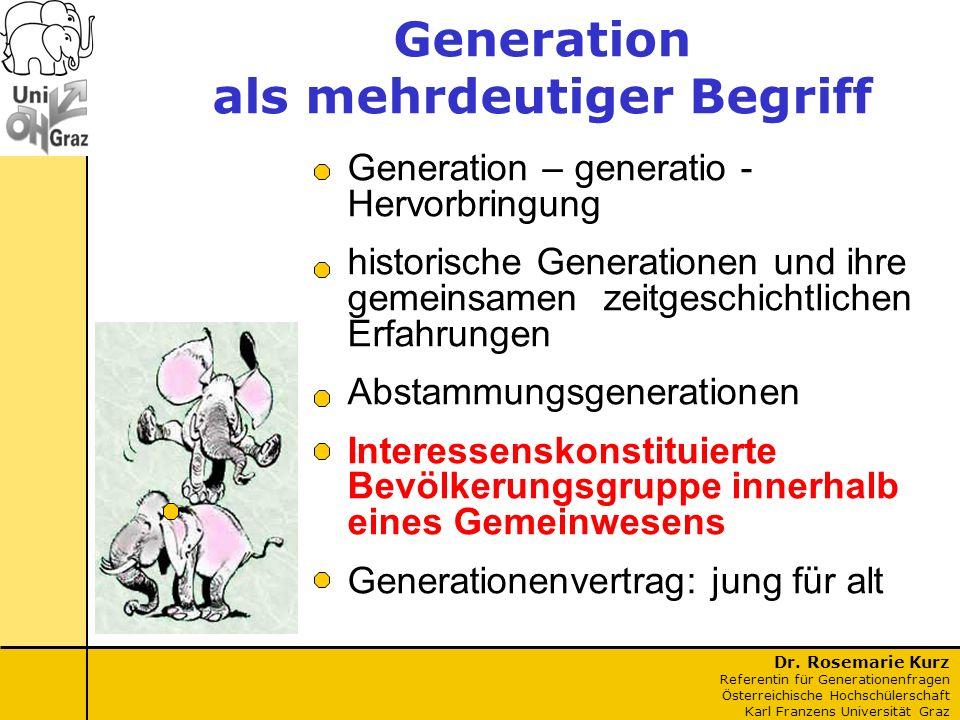 Dr. Rosemarie Kurz Referentin für Generationenfragen Österreichische Hochschülerschaft Karl Franzens Universität Graz Generation – generatio - Hervorb